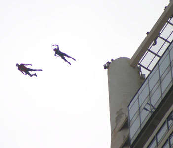 Menara Komtar - Jimmy Pourchert and Gary Cunningham perform a 2 way for Jimmy's 600th BASE jump
