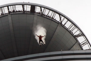 Gary Cunningham BASE jumping from Telekom Malaysia building